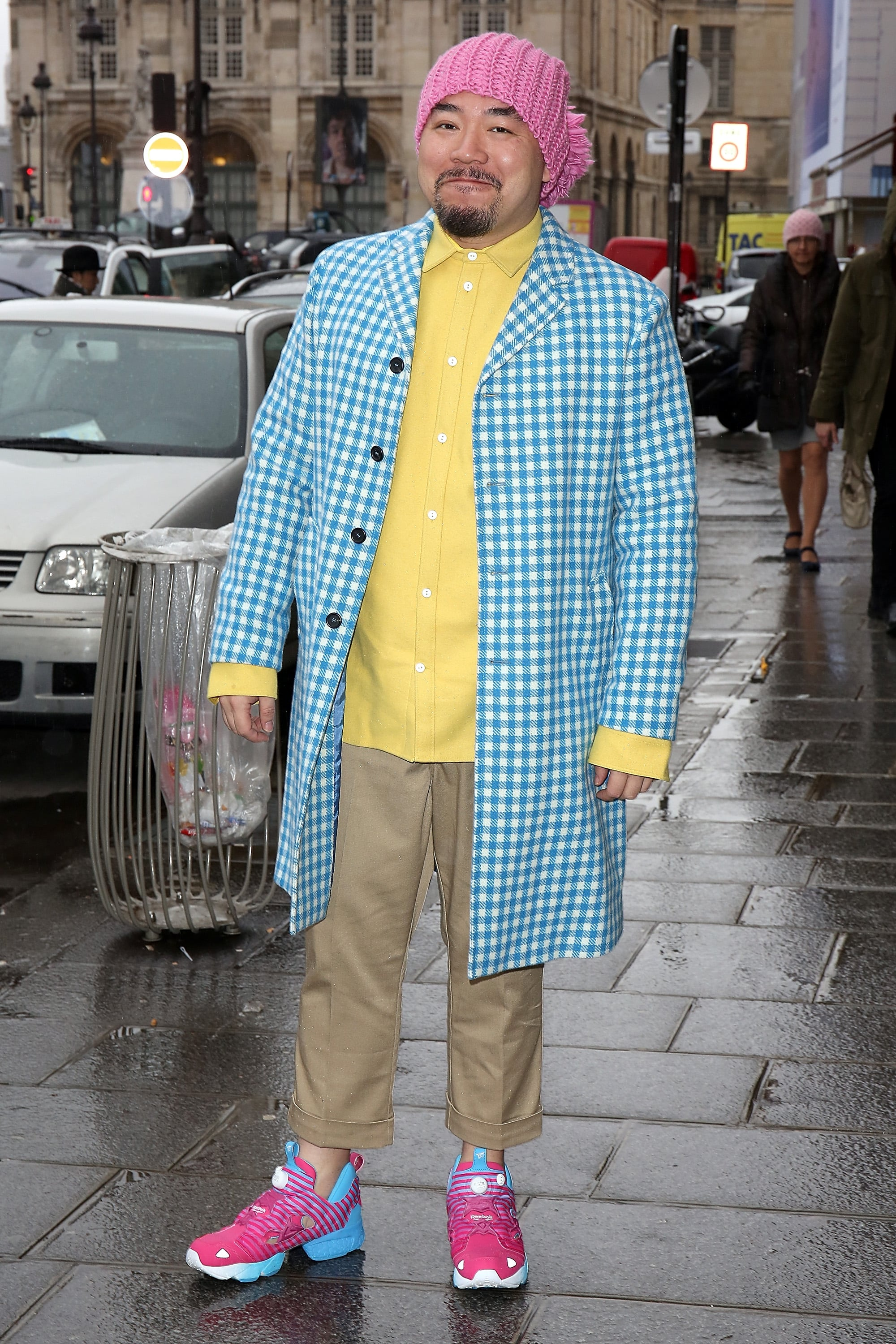 If there are two things to steal from this guy, it's gotta be his bold, bright color and his confidence.