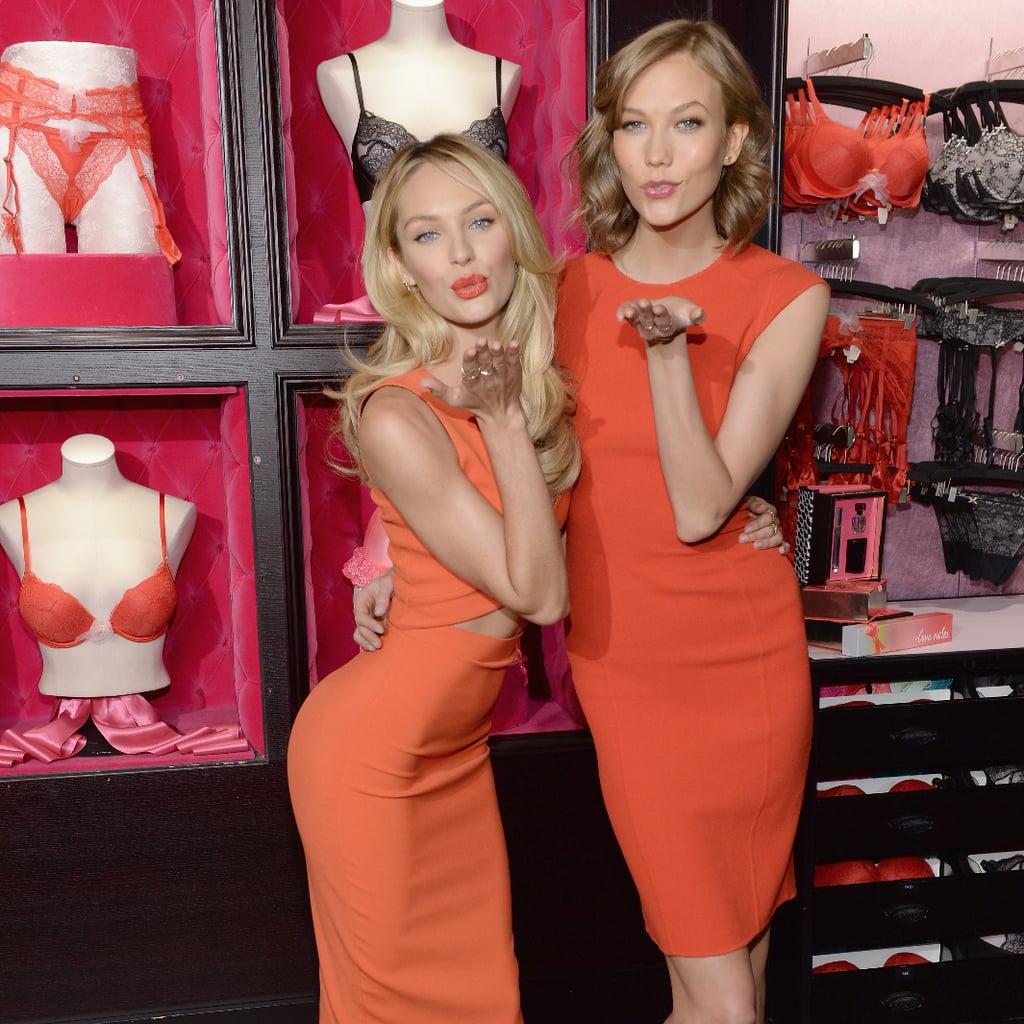 Karlie Kloss Candice Swanepoel In Orange Dress Popsugar Fashion Australia