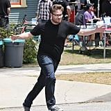Seth Rogen was up in arms while filming Townies in LA on Thursday.