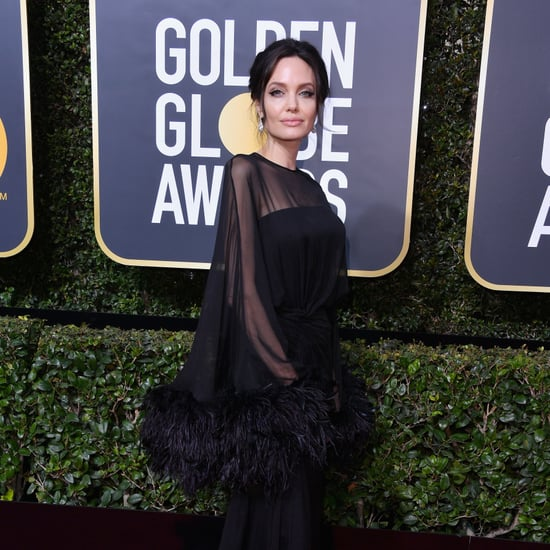 Angelina Jolie Wearing Black Dress at 2018 Golden Globes