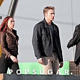 Scarlett Johansson and Chris Evans filmed a scene on a rooftop.