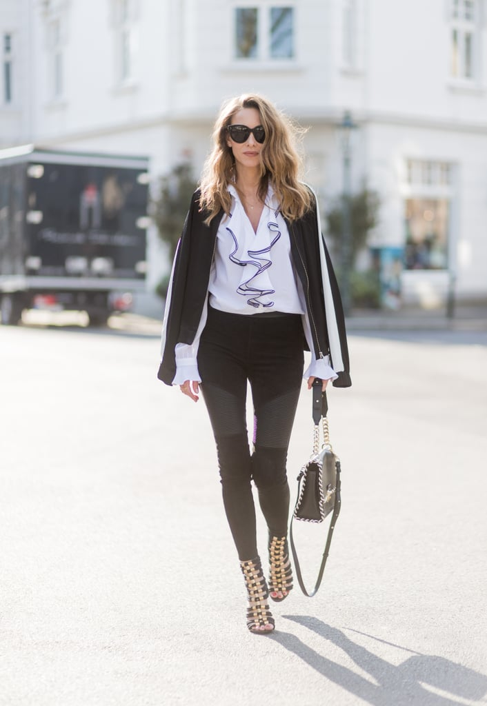 A Ruffled Blouse, Black Skinny Jeans, and Heels