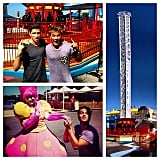 Lincoln Lewis and Scott Tweedie were among the first to ride the new Hair Raiser ride in Sydney's Luna Park this week. Source: Instagram user linc_lewis