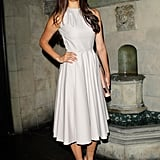 Nina jazzed up her subtle grey midi dress with purple satin embellished pumps and a red-hot lipstick at the Dior Beauty Pre-Golden Globe Dinner in LA.
