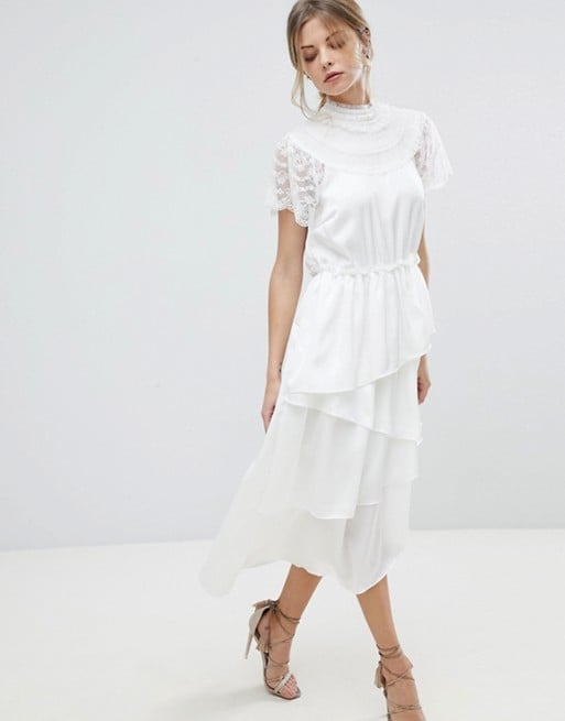 Y.A.S High Neck Lace Midi Dress