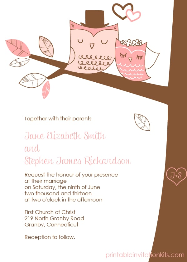 Owl Wedding Invitation Free Printable Wedding Invitations
