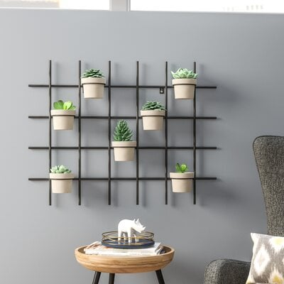 Wrought Studio Sola Grid Concrete Wall Planter