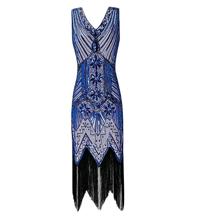 Metme 1920s V Neck Beaded Fringed Gatsby Theme Flapper Dress