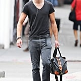 Alexander Skarsgard leaves Cafe Habana.