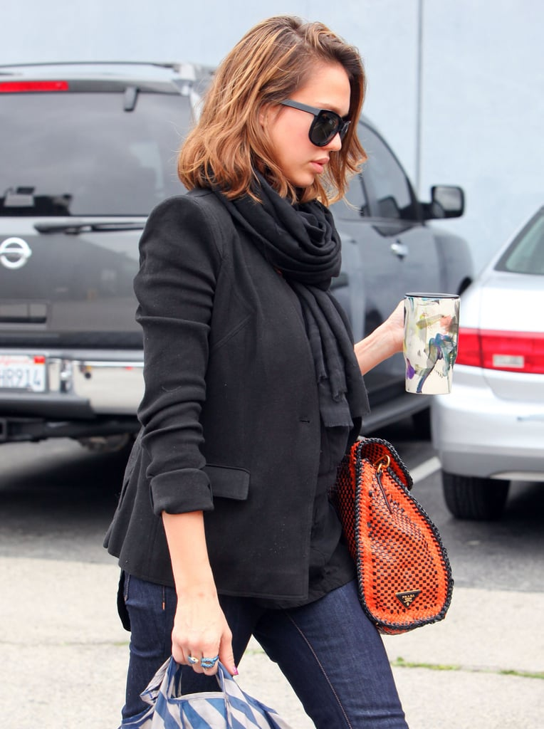 Jessica Alba Totes Her Prada Bag Around Town in Bright Flatforms