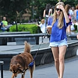 Amanda Seyfried showed off her figure in a pair of jean shorts.