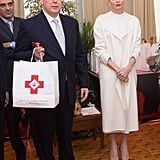 Princess Charlene Dressed in Red and White While Visiting Monaco's Red Cross