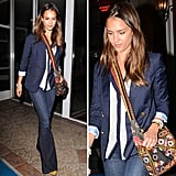 Jessica Alba's bright carryall stole the spotlight in this easy look. See how to craft a similar style.