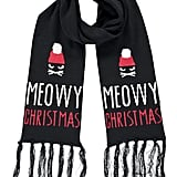 Meowy Christmas Cat Print Oblong Scarf