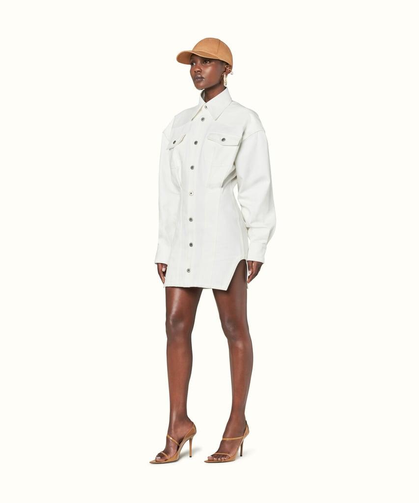 Fenty Denim Corset Dress | Bella Hadid Fenty Outfit on