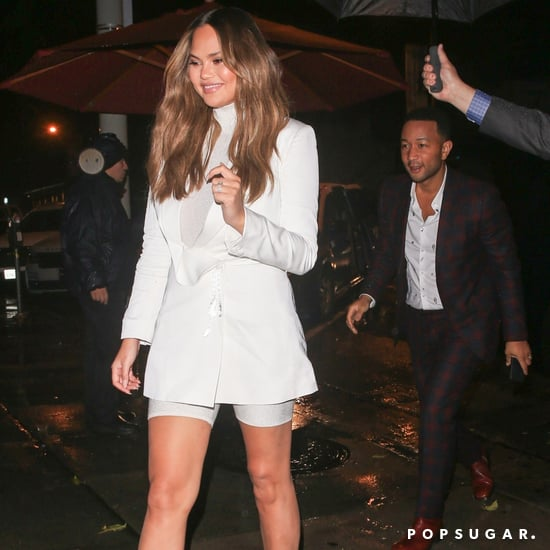 Chrissy Teigen's White Sparkly Biker Shorts