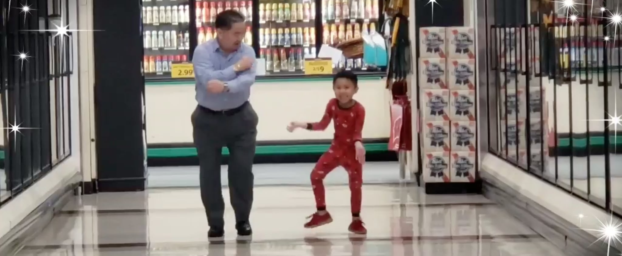 Boy Dancing in the Grocery Store With His Grandpa