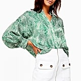 Topshop Green Zebra Print Shirt