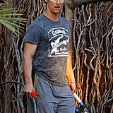 Photos of Matthew McConaughey and Levi Doing Yardwork