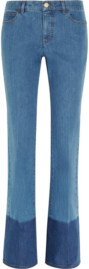 Valentino Two-Tone Mid-Rise Flared Jeans ($990)