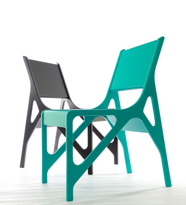 The Mono Chair from naiftasarim features languid geometric lines and is made from eco-friendly and recyclable industrial materials.