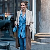 A Long Chambray Jacket Tied at the Front and Jeans