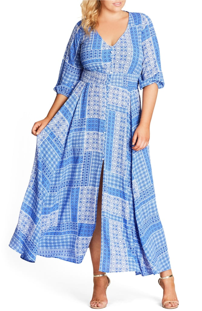 City Chic China Plate A Line Maxi Dress Plus Size Maxi Dresses