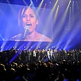 Alicia Keys performed at the 12-12-12 Robin Hood Relief Fund concert in NYC.