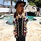 Rachel Zoe wore a gorgeous Missoni knit cardigan while posing poolside. Source: Instagram user rachelzoe