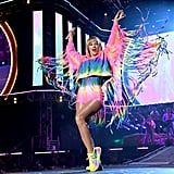 Taylor Swift Wearing a Rainbow Fringe Jacket and Matching Shorts at Wango Tango in June 2019