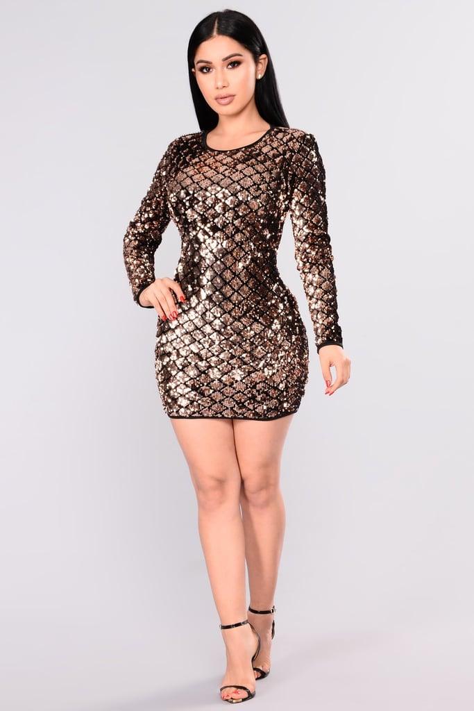 a9bca2dc Fashion Nova Shining Diamond Sequin Dress | Kim Kardashian Gold ...