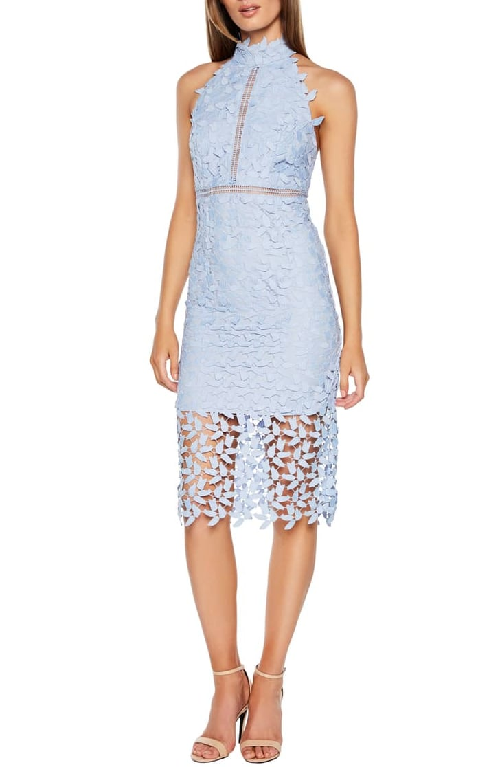 bardot gemma halter lace sheath dress  best wedding guest