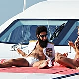 Sacha Baron Cohen and Elisabetta Canalis posed on a luxury yacht at the Cannes Film Festival.