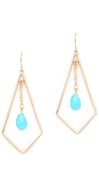 """""""As of late, I can't seem to escape my turquoise fixation. Is it just me or does this particular brand of blue make everyone look tanner? I love how delicate these earrings are, but still manage to show off a cool geometric shape."""" — Marisa Tom, associate editor  Heather Hawkins Tri-Drop Earrings ($66)"""