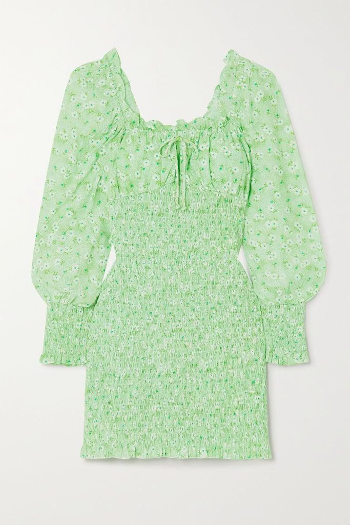 Faithful the Brand Net Sustain Cosima Shirred Floral-Print Crepe Mini Dress