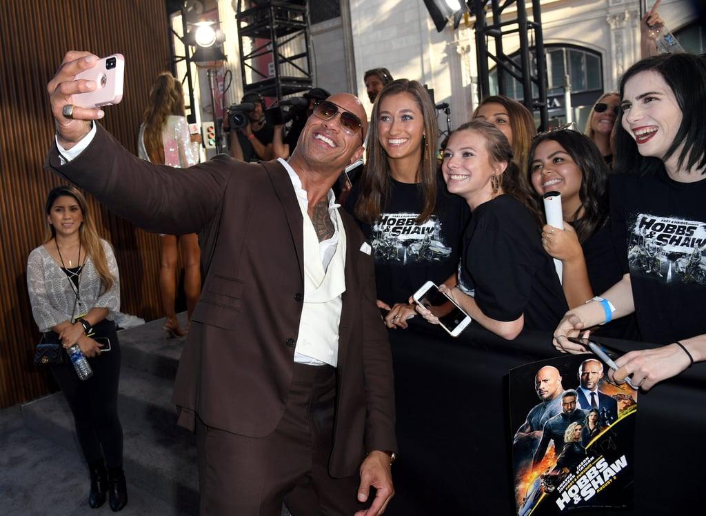 Dwayne Johnson and His Mom at Hobbs and Shaw LA Premiere