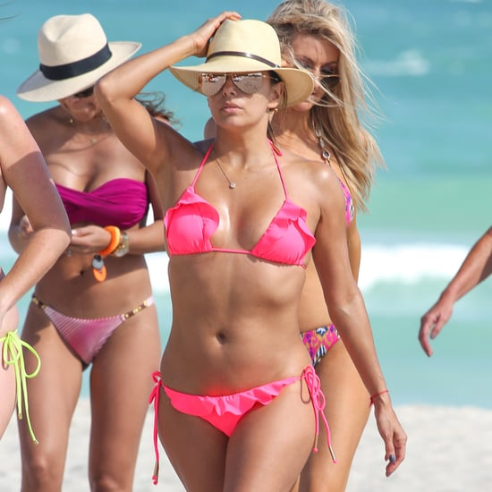 Eva Longoria in a Bright Pink Bikini November 2015 Pictures