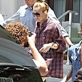 Miley Cyrus got into the car after leaving her Miami hotel.