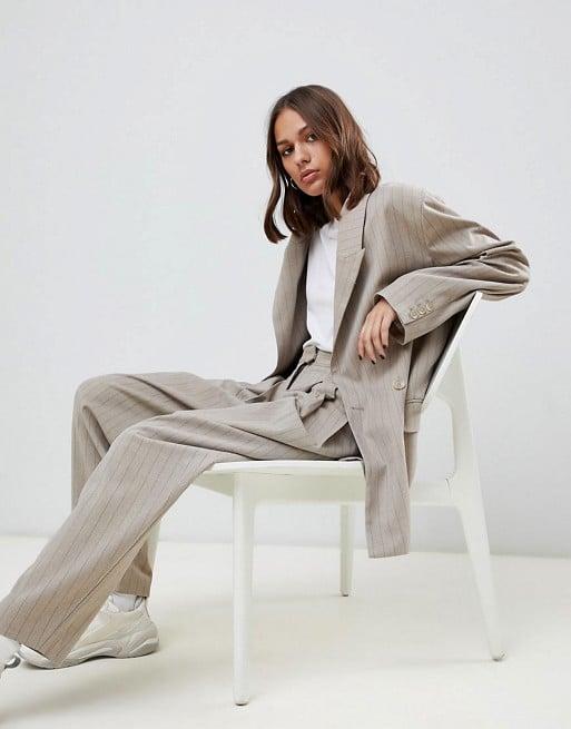Weekday Pinstripe Bazer & Pants in Beige Two-Piece
