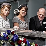 Philip checked out the horse races with granddaughters Beatrice and Eugenie during Derby Day in June 2012.