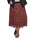 EVRI Plus Size Pleated Print Skirt