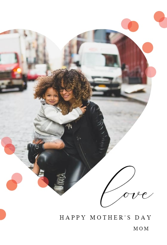 Heart and Polka Dots Printable Mother's Day Card