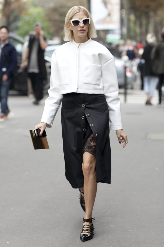 Elena Perminova's black and white look was also an exercise in clever layers.