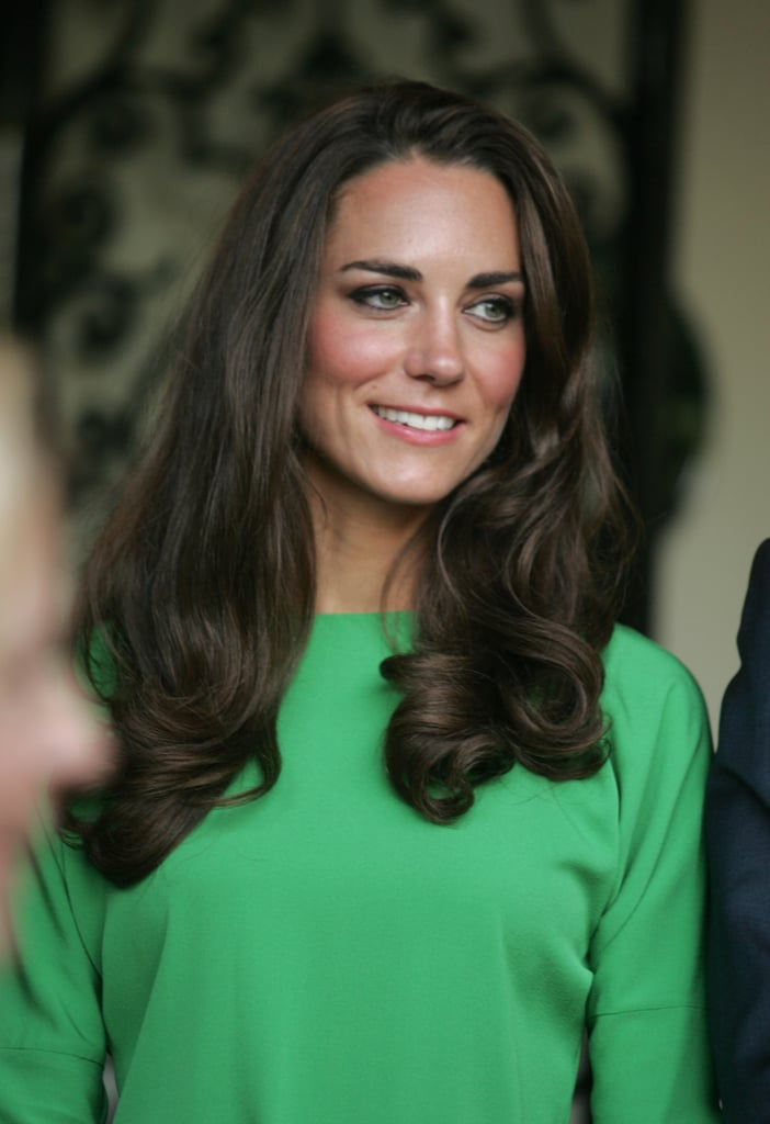 Kate Middleton in a green Diane Von Furstenberg dress in LA.