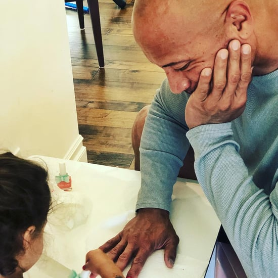 Dwayne Johnson Gets Nail Painted by Daughter September 2018