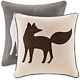 Fox Embroidered Throw Pillow