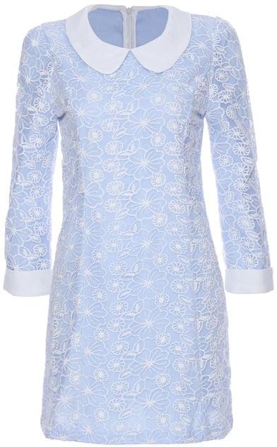 Romwe Lace Embellished Long-Sleeved Blue Dress ($37)