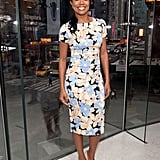 Gabrielle Union brought her big smile and hot looks to the NYC set of Extra on Thursday.