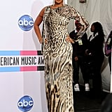 Mary J. Blige was in animal print for the American Music Awards' press room.
