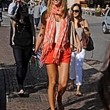Stacy Keibler looked ready for Summer in bright orange.